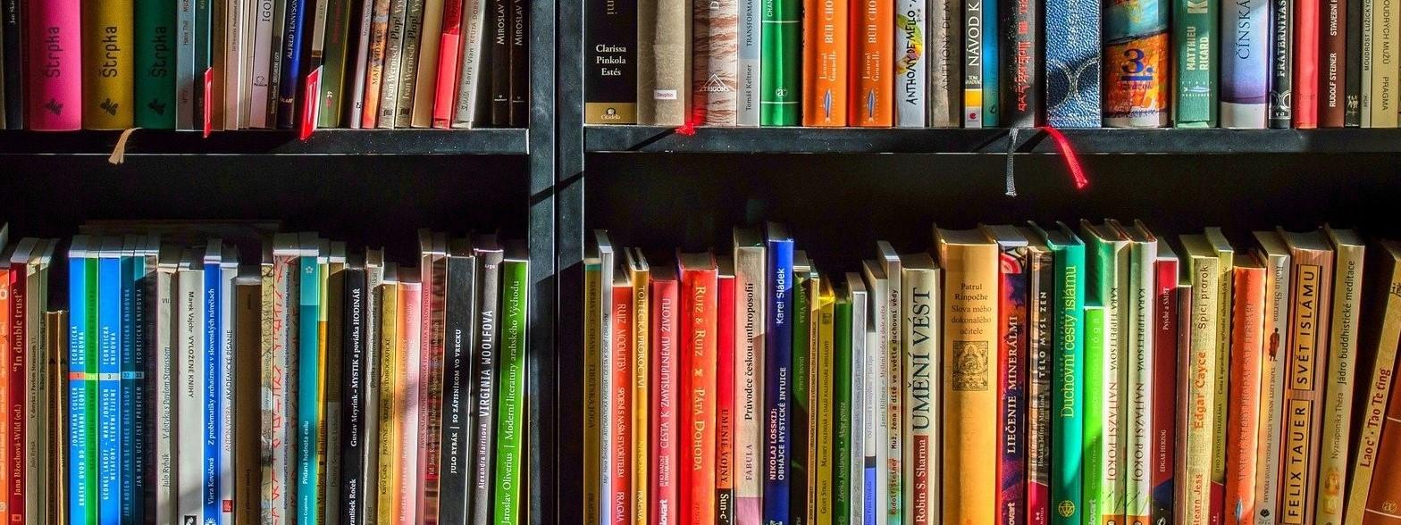 värikkäitä kirjoja hyllyssä